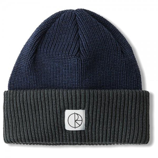 Bonnet Polar Double Fold Merino Beanie Navy Grey