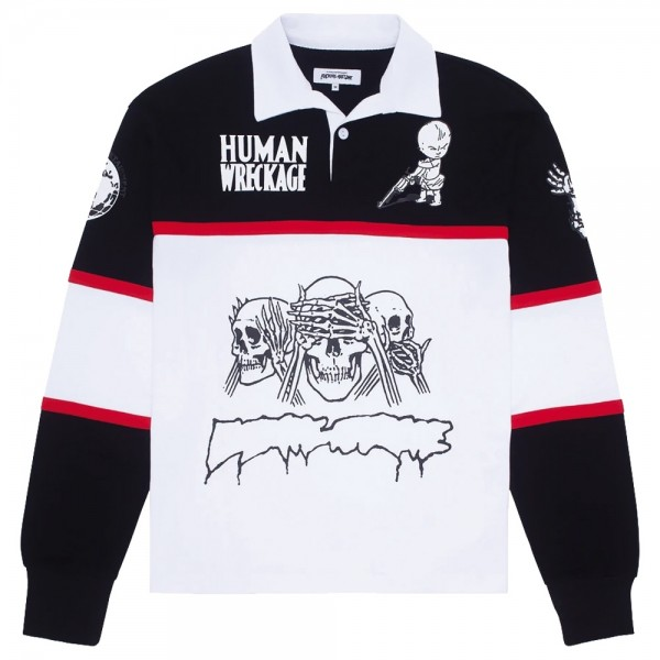 Polo Fucking Awesome Sponsored Rugby Shirt Black White