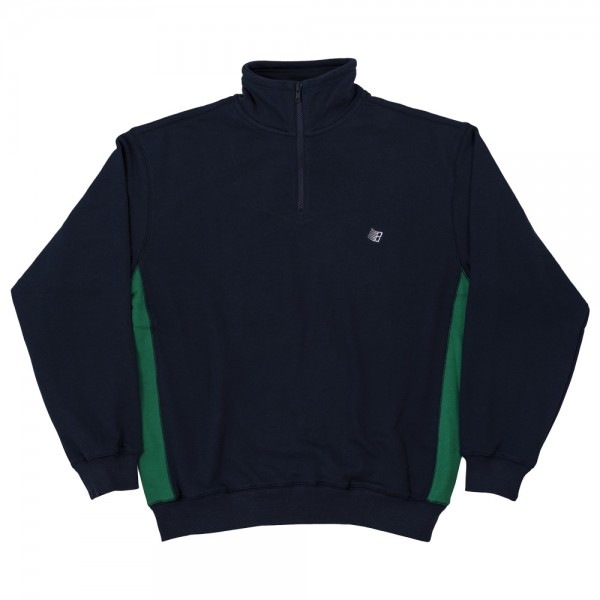 Sweat Bronze Quarter Zip Mock Neck Navy Green