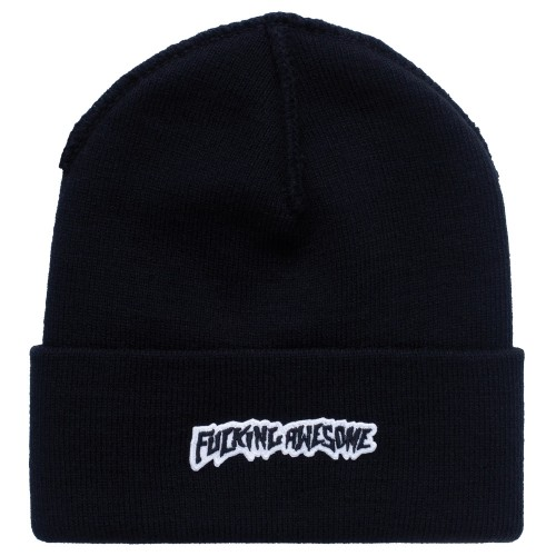 Bonnet Fucking Awesome Little Stamp Cuff Beanie Black