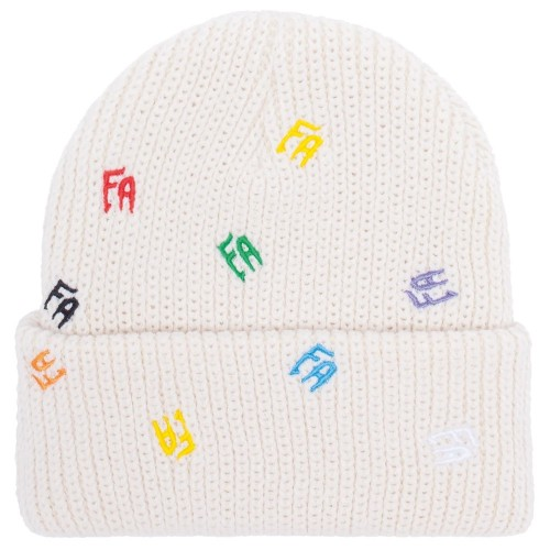 Bonnet Fucking Awesome Scattered FA Cuff Beanie Ivory