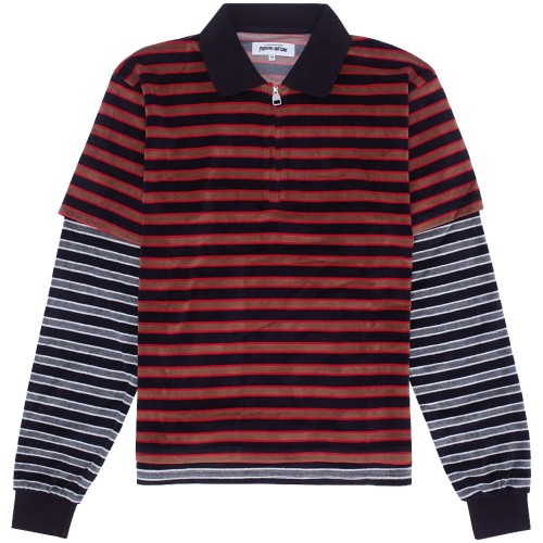 Polo Fucking Awesome Velour Double Shirt Red Black Grey