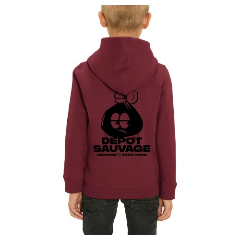 Sweat Capuche Nozbone Kids Dépôt Sauvage Logo Burgundy
